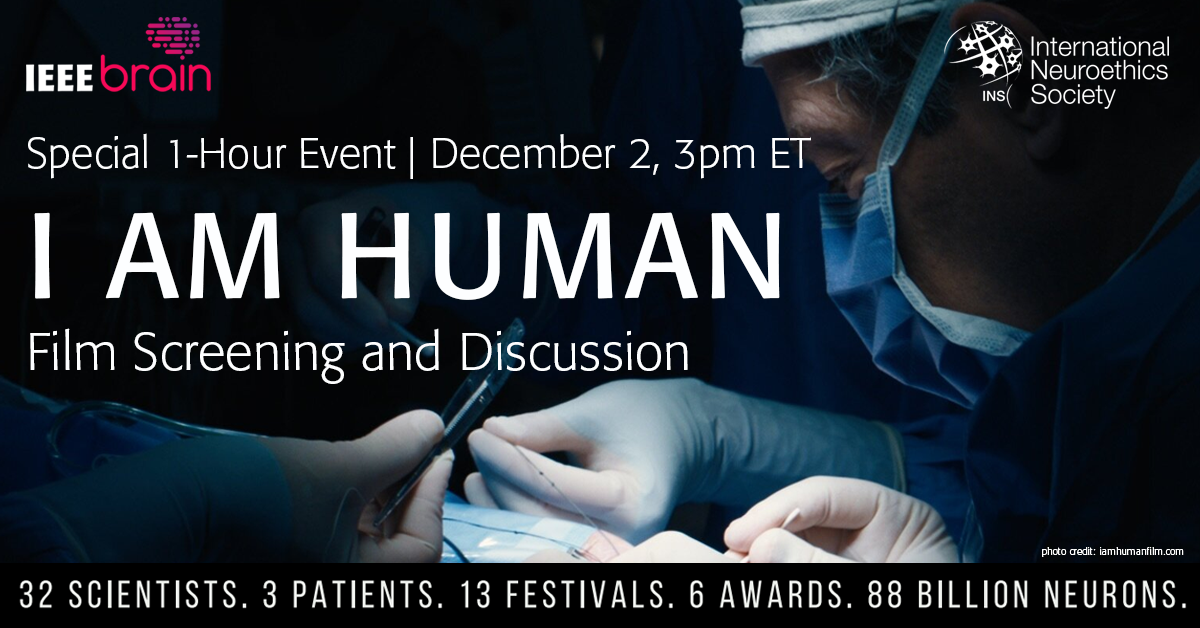 I AM HUMAN. 32 scientists, 3 patients, 13 festivals, 6 awards, 88 billion neurons; Doctors performing surgery on a patient background image