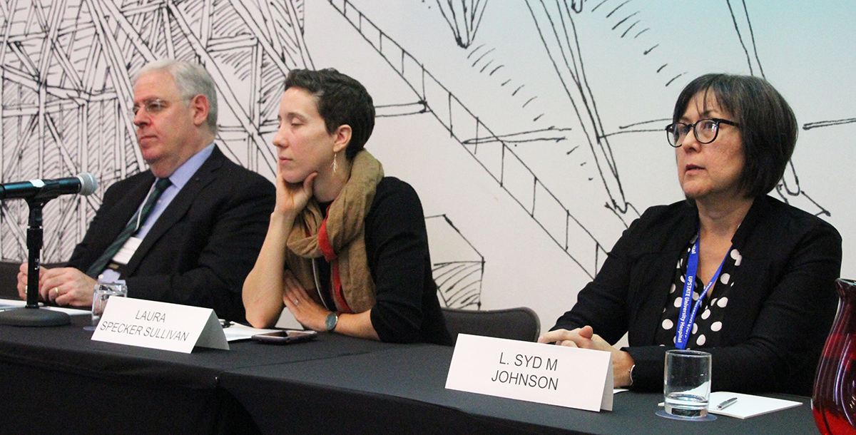 Photo of Joseph J. Fins, Laura Specker Sullivan, and L. Syd M Johnson answering attendee questions