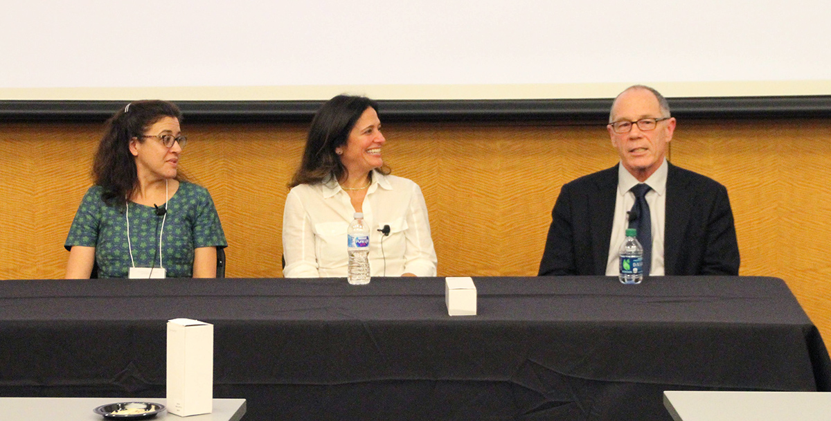 Photo of Nicole Martinez-Martin, Ilina Singh and David C Mohr seated at a table